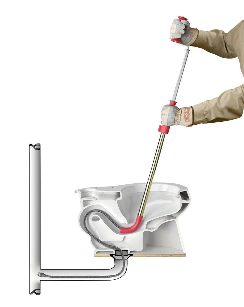 3-Foot Toilet Auger Snake With Bulb Head To Clear Ridgid 59787 K-3 Toilet Auger