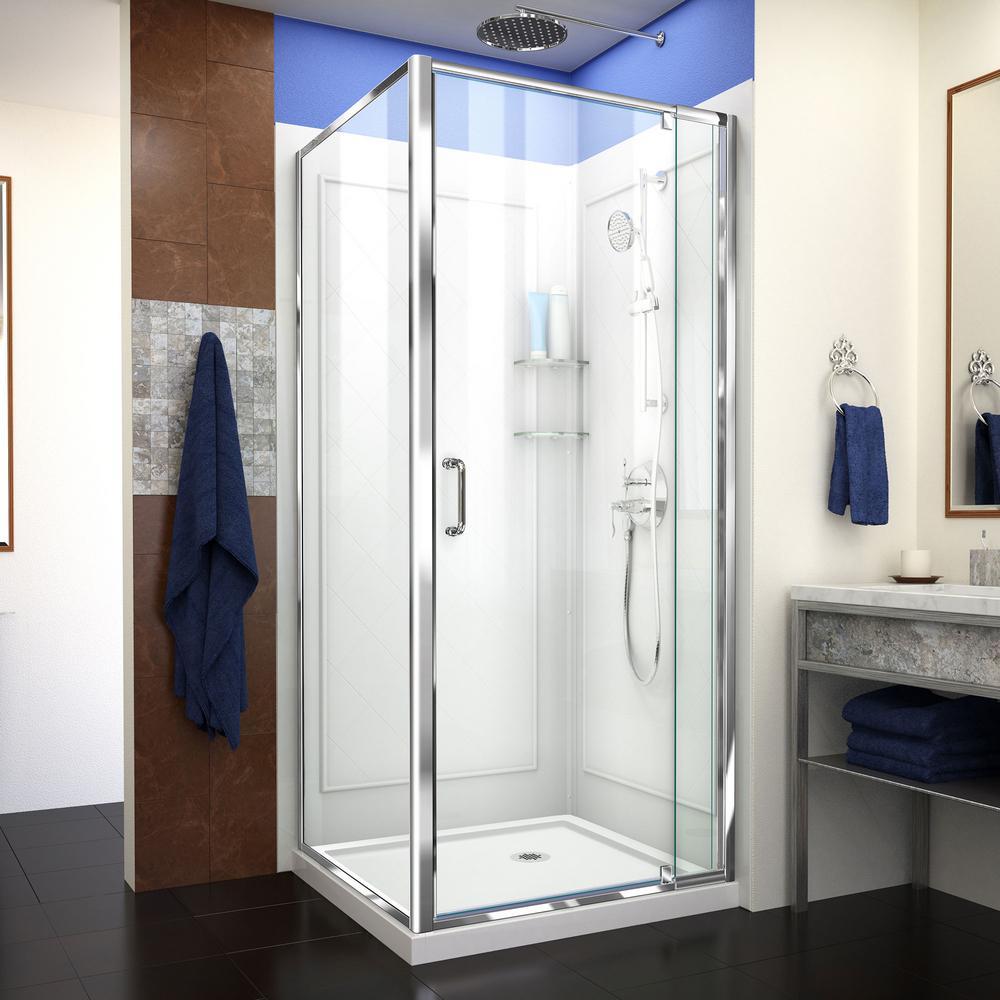 DreamLine Flex 36 in. x 36 in. x 76.75 in. Framed Corner Pivot Shower Kit in Chrome with Shower Base and Backwalls in White-DL-6717-01CL - The Home Depot